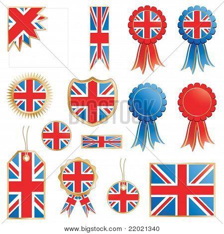 Großbritannien-Flags und Rosetten