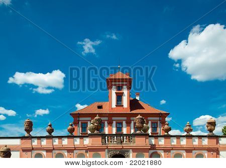 Troja Castle In Prague Against The Blue Sky