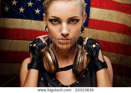 Steam punk girl against american flag.
