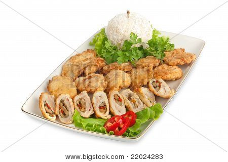 Appetizer Of Meat With Lettuce, Pepper And Vegetables