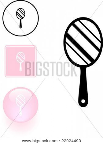 hand mirror symbol sign and button