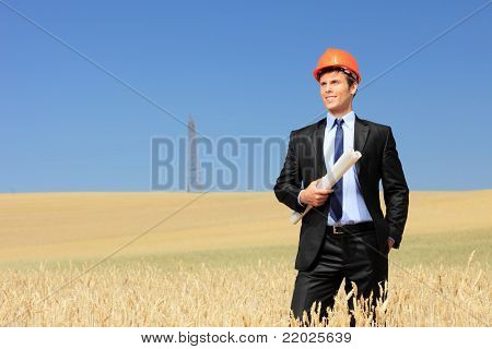 Young architect wearing protective helmet and holding blueprints in a wheat field