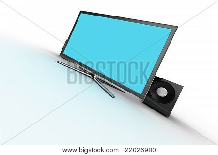 blue display with speakers