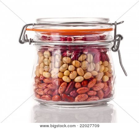 Haricot in jar isolated on white