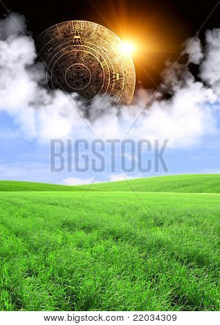 Vertical background with Maya calendar and summer landscape