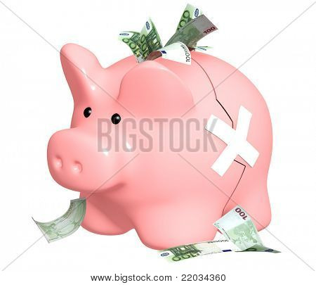 Two parts of a piggy bank fastened by a plaster. Isolated over white