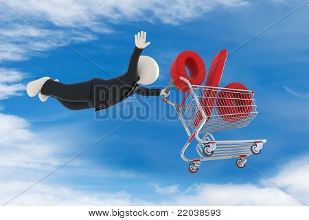 3D Guy Flying With Shopping Cart And Percent Sign