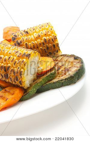Grilled Carrot, Corn And Zucchini On ? Plate