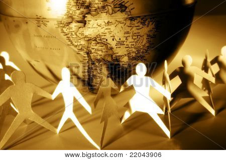 Paper chain and globe