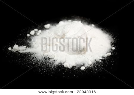 Baking Soda On Black Background