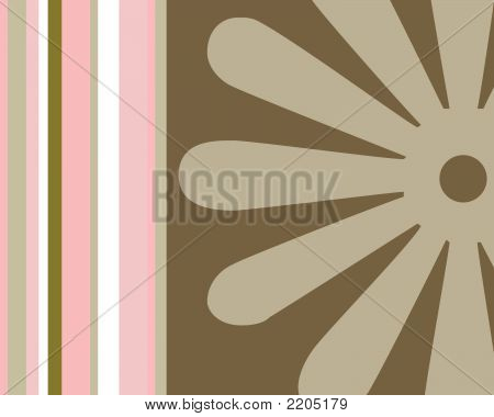 Retro Stripes And Flower Background