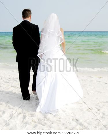 Newly Weds On The Beach