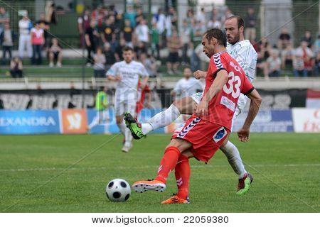 KAPOSVAR, HUNGARY - MAY 14: Boris Milicic (33) in action at a Hungarian National Championship soccer game - Kaposvar vs Szolnok on May 14, 2011 in Kaposvar, Hungary.
