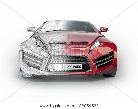 Red sports car isolated on white background. Non branded concept car.