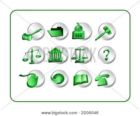 Legal Icon Set - Green-Silver