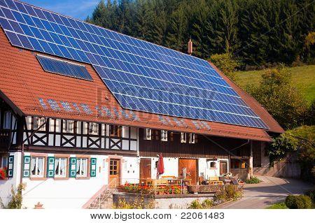 Solar panels on frarmhouse
