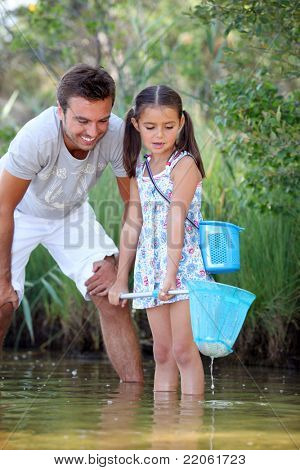 Father and daughter fishing in pond
