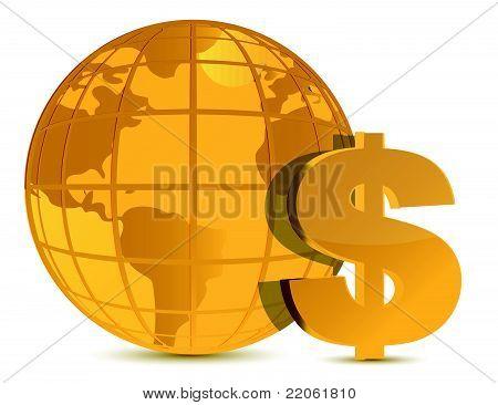 world and money wealth illustration design over white