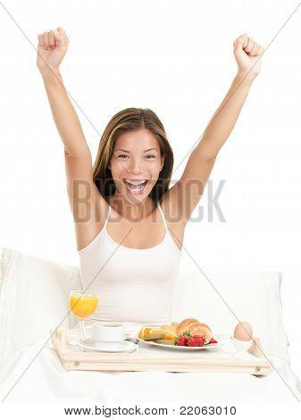 Happy Morning Breakfast Woman
