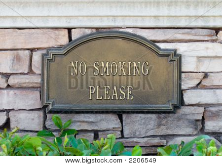 Bronze No Smoking Sign Close Up