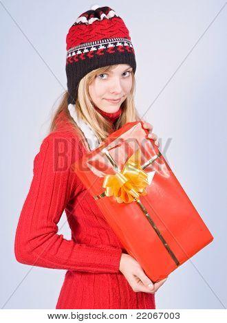 teenage girl with gift