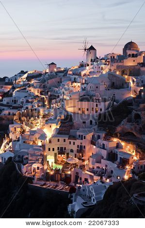 Illuminated Oia Village