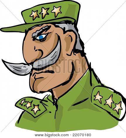 Old military army general officer with impressive mustache, hand-drawn vector illustration