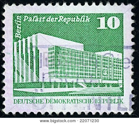 DDR-CIRCA 1980:A stamp printed in DDR shows image of The Palace of the Republic in Berlin was the seat of the parliament of the German Democratic Republic, the People's Chamber, circa 1980.