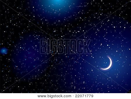 Stella space landscape with distant stars and cresent moon