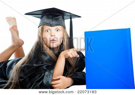 Surprised girl in graduation dress on isolated white