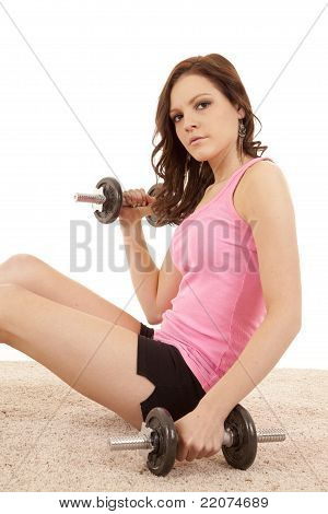 Woman Pink On Floor Weights