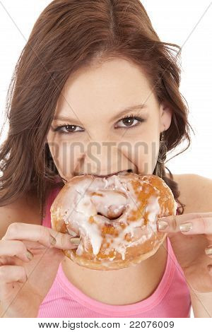 Woman Close Biting Doughnut