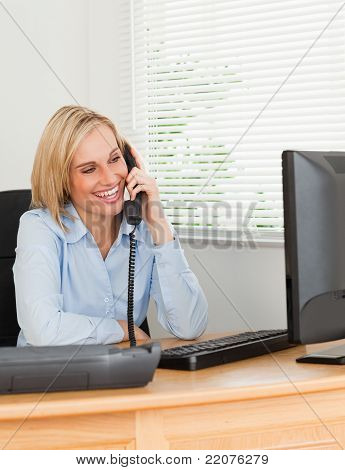 Good Looking Businesswoman On Phone