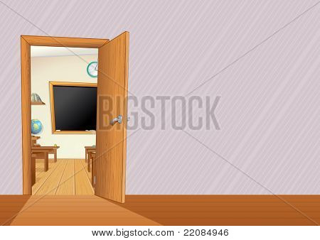 Empty Classroom with Wooden Furniture, Desks, Blackboard... illustration with copy space for your text or design