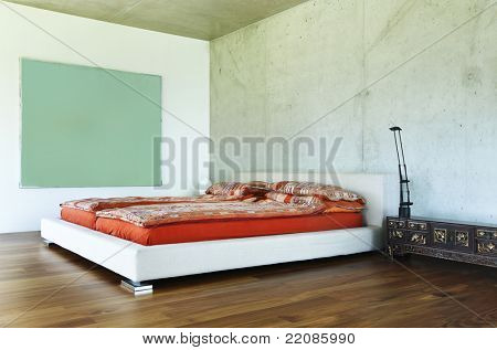 modern house interior, bedroom view