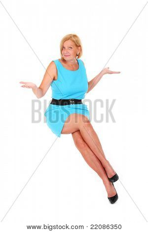 A picture of a beautiful blond woman with long legs sitting in the air over white background
