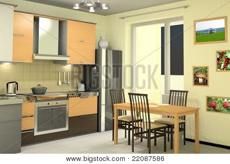 Interior Design Of Modern Kitchen With Equipment
