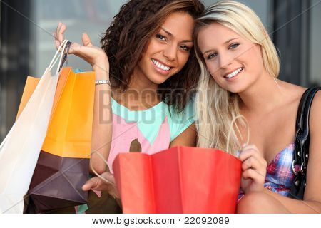 girls after shopping frenzy