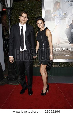 LOS ANGELES - JAN 11: Ashton Kutcher and Demi Moore at the premiere of 'No Strings Attached' at the Regency Village Theater in Los Angeles, California on January 11, 2011