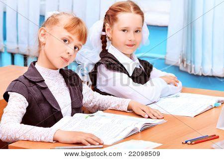 Portrait of a schoolgirls in a classroom.