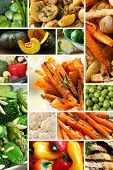 image of baked potato  - Collage of healthy vegetables images - JPG
