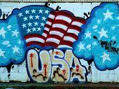 Patriotic Neighborhood Mural Of Graffiti Flag