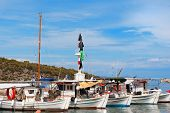 image of epidavros  - Greek fishing boats in harbor from Epidavros - JPG