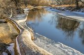 Постер, плакат: Cache la Poudre River at Timanth below Fort Collins winter scenery with ice and snow