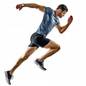 one caucasian man runner jogger running jogging isolated on white background with shadows poster