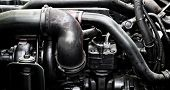 A Classic Fragment Of Diesel Car Engine Or Truck Engine With Copy Space For Text. Metallic Backgroun poster