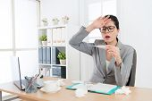 Sadness Young Business Woman Feeling Headache poster