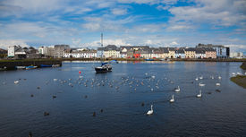 stock photo of claddagh  - Panorama of the Claddagh in Galway city Ireland - JPG