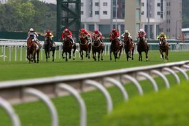 stock photo of race track  - The Horse Racing at Hong Kong Jockey Club - JPG