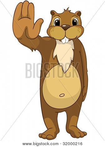 Funny Beaver Isolated on White Background